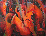 Red Band Painting Originals - Saxy Cellos by Susanne Clark