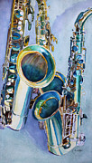 Sax Painting Originals - Saxy Trio by Jenny Armitage