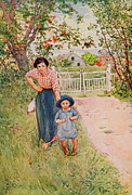 Picket Fence Framed Prints - Say a Nice How Do You Do to Your Uncle Framed Print by Carl Larsson