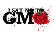 Sassan Filsoof Posters - Say No to GMO graffiti print with tomato and typography Poster by Sassan Filsoof