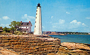 Saybrook Framed Prints - Saybrook Breakwater Light 1950 Framed Print by Skip Willits