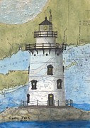 Chart Painting Posters - Saybrook Lighthouse CT Chart Map Art Poster by Cathy Peek