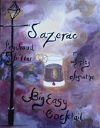 Sazerac Cocktail Paintings - Sazerac Big Easy Cocktail by Marian Hebert