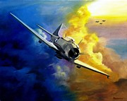 Bomber Painting Framed Prints - SBD Dauntless Framed Print by Stephen Roberson