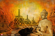 Historic Statue Painting Prints - Sborobudur Temple Compounds Print by Catf