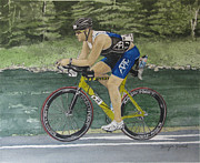 Ironman Painting Posters - S.C. Cycling in Ironman Tremblant Poster by Tanya Petruk