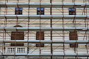 Renovation Framed Prints - Scaffolding on building facade Framed Print by Sami Sarkis