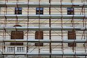 Scaffolding On Building Facade Print by Sami Sarkis