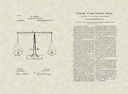 Lawyer Drawings Framed Prints - Scales of Justice Patent Art / Copy Framed Print by PatentsAsArt