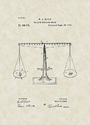 Lawyer Drawings Framed Prints - Scales of Justice Patent Art Framed Print by PatentsAsArt