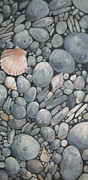 Round Shell Painting Framed Prints - Scallop Shell and Black Stones Framed Print by Mary Hubley