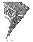 Column Drawings - Scamozzi Column Capital by Calvin Durham
