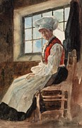 Apron Painting Framed Prints - Scandinavian Peasant Woman in an Interior Framed Print by Alexandre Lunois