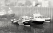 Boats In Harbor Framed Prints - Scarborough Harbor BW Framed Print by Niel Morley