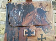 Horses In Art Tapestries - Textiles - Scarce Bort Carleton Horse Art Purse Cowgirls Faith by Heather Grieb
