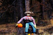 Montana Digital Art - Scarecrow In The Woods by Janie Johnson