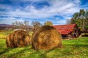 Tennessee Hay Bales Photo Prints - Scarecrows Dream Print by Debra and Dave Vanderlaan
