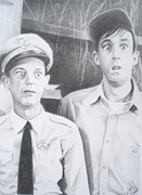 Andy Griffith Show Drawings Posters - Scared Silly Poster by Kendra Tharaldsen-Franklin
