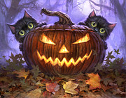 Halloween Digital Art Metal Prints - Scaredy Cats Metal Print by Jeff Haynie