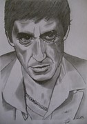 Featured Drawings Framed Prints - Scarface Framed Print by Bodhisatwa Mitra