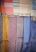 Striped Scarf Framed Prints - Scarfs at the market Framed Print by Nikolina Petolas