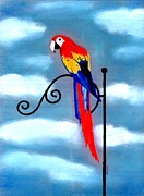 Macaw Pastels - Scarlet Macaw Bird   by Olde Time  Mercantile