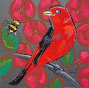 Bee Pastels Posters - Scarlet Tanager and Roses Poster by Danyl Cook