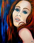 Mysterious Woman Paintings - Scarlets Secret by Debi Pople