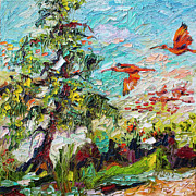 Pallet Knife Painting Posters - Scarlett Ibis Wildlife Tropical Summer Poster by Ginette Callaway