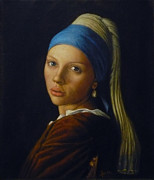 Girl With A Pearl Earring Paintings - Scarlett Johansson by Jaro Zbijar