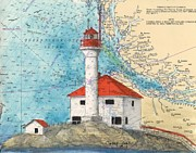 Chart Painting Posters - Scarlett Pt Lighthouse BC Canada Chart Art Poster by Cathy Peek