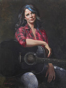 Songwriter Painting Originals - Scarlit Tones by Anna Bain