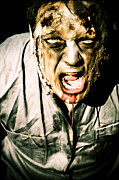 Scary Dark Horror Zombie Screaming Bloody Murder Print by Ryan Jorgensen