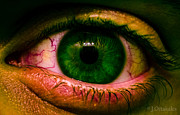 Green Monster Prints - Scary Eye Print by Jeff Ortakales
