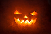 Vegetables Pyrography Posters - Scary Halloween pumpkin smile Poster by Pavlo Kolotenko