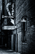 Blue Brick Prints - Scat Lounge in Cool Black and White Print by Joan Carroll