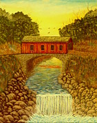 Covered Bridge Painting Metal Prints - Scattered Reflections Metal Print by David Bentley
