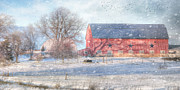 Barns Digital Art - Scattered Snow Showers by Lori Deiter