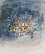 Christmas Cards Framed Prints - Scene from Jane Austens Emma Framed Print by Caroline Hervey Bathurst