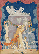Child Dancers Posters - Scene from Les Liaisons Dangereuses  Poster by Georges Barbier