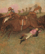 Jockeys Framed Prints - Scene from the Steeplechase The Fallen Jockey Framed Print by Edgar Degas