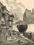 White River Scene Drawings Posters - Scene on the Canal 1872 Engraving Poster by Antique Engravings
