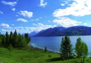 National Mixed Media Prints - Scenic Jackson Lake - Grand Teton National Park Print by Photography Moments - Sandi