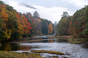 Autumn Photos Prints - Scenic Vermont River and Autumn Landscape Print by Juergen Roth