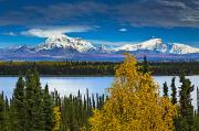 Willow Lake Photo Posters - Scenic View Of Mt. Sanford L And Mt Poster by Sunny Awazuhara- Reed