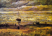 Stormy Weather Posters - Scheveningen Beach in Stormy Weather Poster by Vincent Van Gogh