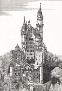 Florida Drawings Framed Prints - Schloss Neuschwanstein  Framed Print by John Simlett