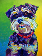 Pet Portrait Paintings - Schnauzer - Charly by Alicia VanNoy Call