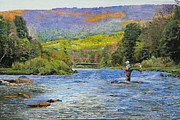 Trout Stream Landscape Prints - Schoharie Creek Print by Kenneth Young