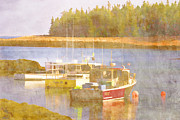 Fishing Boats Posters - Schoodic Peninsula Maine Poster by Carol Leigh